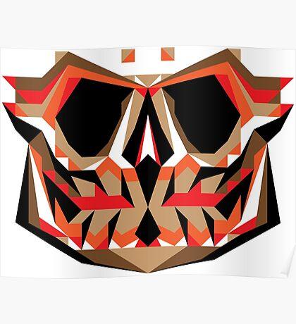 Smiling Skull (Brown-orange) Poster