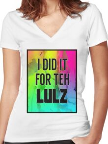For the LULZ #1 Women's Fitted V-Neck T-Shirt