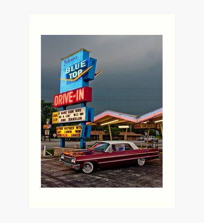 Blue Top Drive-In Art Print