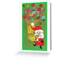 """Tubby Tuba Claus"" - Vintage Christmas Card, Green, Retro, Gold, Red, Old, Santa, Saint, St., Nick, Nicholas, Flowers, Floral, Happy, Holiday, Holidays, Time, Xmas Greeting Card"