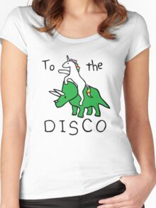 unicorn dinosaurs  to the disco Women's Fitted Scoop T-Shirt