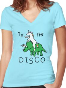 unicorn dinosaurs  to the disco Women's Fitted V-Neck T-Shirt