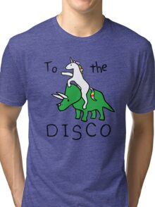 unicorn dinosaurs  to the disco Tri-blend T-Shirt