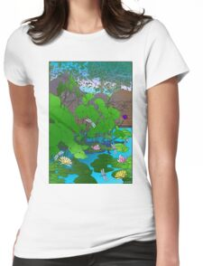 Amazing Lotus and Lilly Water Garden and dragonfly. Poster, Art print, Clock Womens Fitted T-Shirt