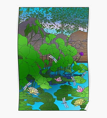 Amazing Lotus and Lilly Water Garden and dragonfly. Poster, Art print, Clock Poster