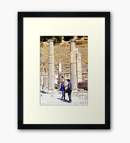 Cowgirl in Ancient Times, Photo / Digital Painting  Framed Print