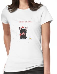 Frenchie Waiting for Santa - Black Edition Womens Fitted T-Shirt