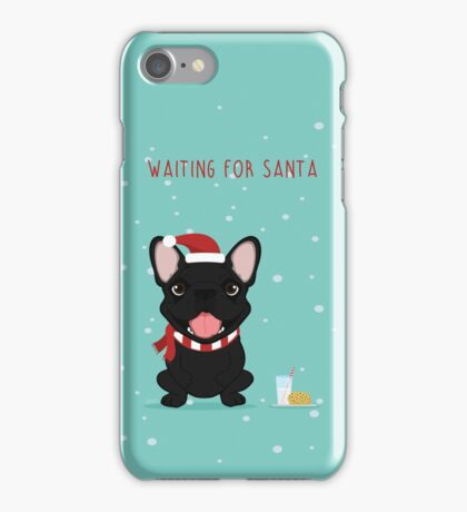Frenchie Waiting for Santa - Black Edition iPhone Case/Skin