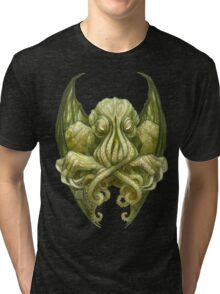 Cthulhu Dreaming, in non-Euclidean green Tri-blend T-Shirt