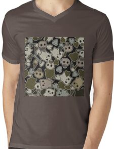 Camo Kawaii Ghosts Mens V-Neck T-Shirt