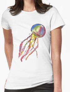 Watercolor Jellyfish Womens Fitted T-Shirt