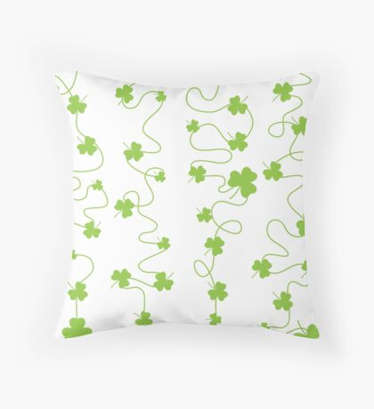 Nice pattern with clover leaves with lines on white background Throw Pillow