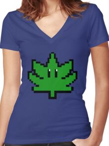Super Weed Pixel Art Women's Fitted V-Neck T-Shirt