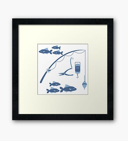 Stylized icon set of different tools for fishing and flocks of fish  Framed Print