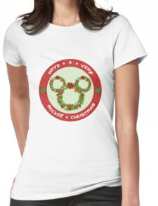 Mickey Christmas Holiday Design Womens Fitted T-Shirt