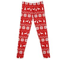 Vizsla Silhouettes Christmas Sweater Pattern Leggings