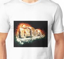Drawn vehicle, similar to a sports retro car in flames Unisex T-Shirt