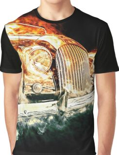 Drawn vehicle, similar to a sports retro car in flames Graphic T-Shirt