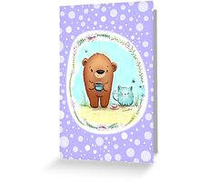 Coffee Bear & Confused Kitty with Polkadots Greeting Card