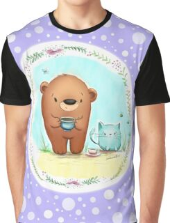 Coffee Bear & Confused Kitty with Polkadots Graphic T-Shirt
