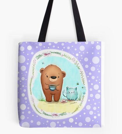 Coffee Bear & Confused Kitty with Polkadots Tote Bag