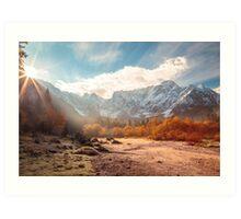 autumn sunrinse in the valley Art Print