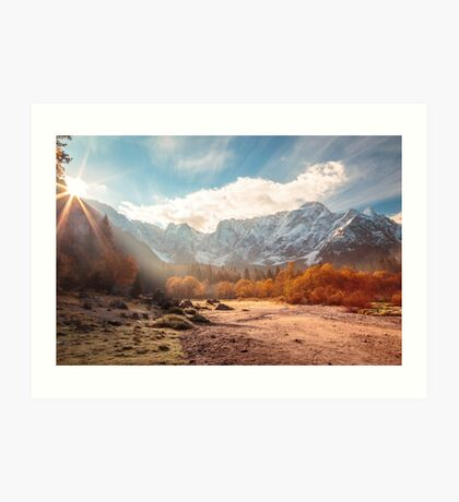 autumn sunrinse in the valley Art Print