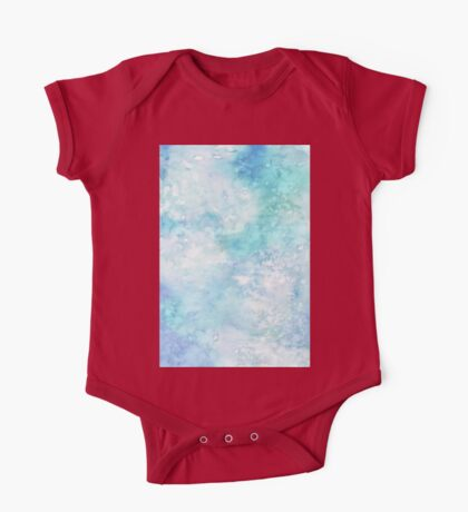 Winter snow watercolour in blue and turquoise ice, snow and water blue shades One Piece - Short Sleeve