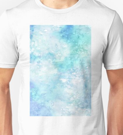 Winter snow watercolour in blue and turquoise ice, snow and water blue shades Unisex T-Shirt