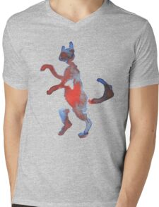 Red And Blue Walking Cat Mens V-Neck T-Shirt