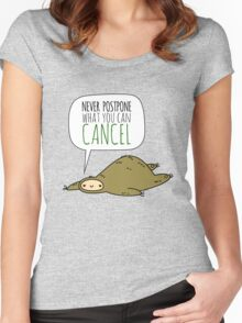 Sloth Wisdom.  Women's Fitted Scoop T-Shirt
