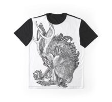 Jackalope with Ferns and Pinecones Graphic T-Shirt