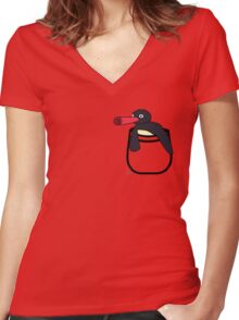 Pocket Penguin Women's Fitted V-Neck T-Shirt