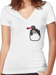 Pocket Penguin Women's Fitted V-Neck T-Shirt