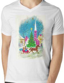 """Retro Romance"" - Vintage Christmas Card, Sleigh, Ride, Love, Horse, Carriage, Couple, Winter, Wonderland, Tree, Lights, Pink, Blue, Yellow, Green, Red Mens V-Neck T-Shirt"