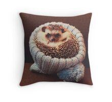 Winter Hat Hedgehog Throw Pillow