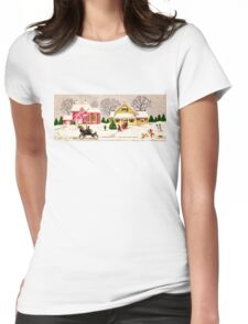 """Seasons Greetings Sunday Driver"" - Vintage Christmas Card, Time, Winter, Scene, Retro, Dog, Kids, Couple, Man, Woman, Snow, Wonderland, Snowy, Pink, Yellow, Tree, Old, Car, Model T Womens Fitted T-Shirt"
