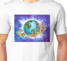 """Global Santa"" - Vintage Christmas Card, Sleigh, Presents, 8 Tiny, Reindeer, Globe, Trotting, World,Teal, Blue, Ocean, Aqua, Green, Retro, Red, Santa, Nick, Happy, Holiday, Holidays, Xmas Unisex T-Shirt"