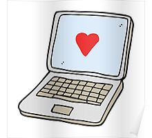 cartoon laptop computer with heart symbol on screen Poster
