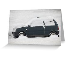 small car covered with snow Greeting Card