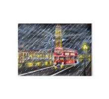 Red Bus in London night rain  Gallery Board