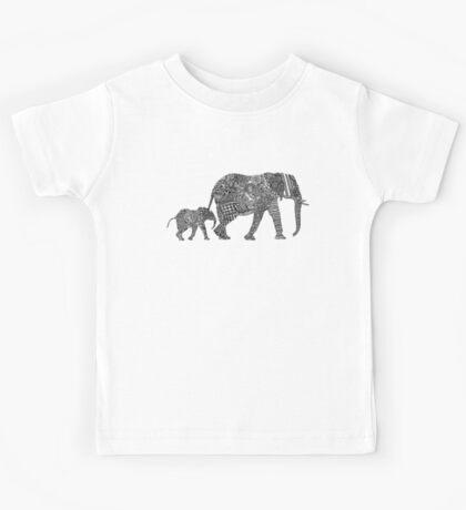 B & W Zentangle Elephants Kids Tee