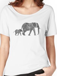 B & W Zentangle Elephants Women's Relaxed Fit T-Shirt
