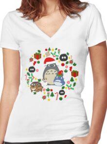 Christmas Totoro in Dark Grey - Holiday, Xmas, Presents, Peppermint, Candy Cane, Mistletoe, Snowflake, Poinsettia, Anime, Catbus, Soot Sprite, Blue, White, Manga, Hayao Miyazaki, Studio Ghibl Women's Fitted V-Neck T-Shirt