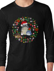 Christmas Totoro in Dark Grey - Holiday, Xmas, Presents, Peppermint, Candy Cane, Mistletoe, Snowflake, Poinsettia, Anime, Catbus, Soot Sprite, Blue, White, Manga, Hayao Miyazaki, Studio Ghibl Long Sleeve T-Shirt