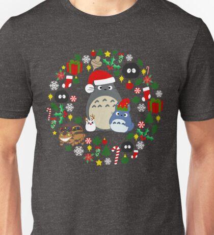 Christmas Totoro in Dark Grey - Holiday, Xmas, Presents, Peppermint, Candy Cane, Mistletoe, Snowflake, Poinsettia, Anime, Catbus, Soot Sprite, Blue, White, Manga, Hayao Miyazaki, Studio Ghibl Unisex T-Shirt