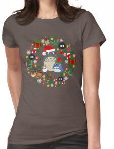 Christmas Totoro in Dark Grey - Holiday, Xmas, Presents, Peppermint, Candy Cane, Mistletoe, Snowflake, Poinsettia, Anime, Catbus, Soot Sprite, Blue, White, Manga, Hayao Miyazaki, Studio Ghibl Womens Fitted T-Shirt