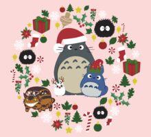 Christmas Totoro in Lighter Grey - Holiday, Xmas, Presents, Peppermint, Candy Cane, Mistletoe, Snowflake, Poinsettia, Anime, Catbus, Soot Sprite, Blue, White, Manga, Hayao Miyazaki, Studio Ghibl One Piece - Short Sleeve