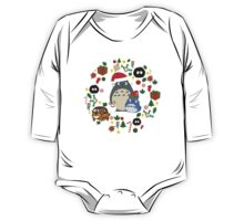 Christmas Totoro in Lighter Grey - Holiday, Xmas, Presents, Peppermint, Candy Cane, Mistletoe, Snowflake, Poinsettia, Anime, Catbus, Soot Sprite, Blue, White, Manga, Hayao Miyazaki, Studio Ghibl One Piece - Long Sleeve