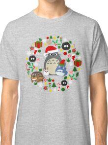 Christmas Totoro in Lighter Grey - Holiday, Xmas, Presents, Peppermint, Candy Cane, Mistletoe, Snowflake, Poinsettia, Anime, Catbus, Soot Sprite, Blue, White, Manga, Hayao Miyazaki, Studio Ghibl Classic T-Shirt
